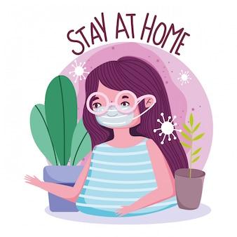 Fique em casa, jovem mulher com prevenção de quarentena de máscara protetora, disfarçada 19