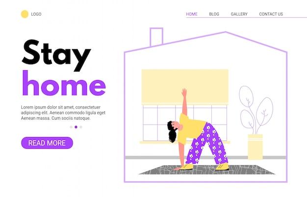 Fique em casa na página inicial com a mulher fazendo ioga na quarentena de coronavírus.