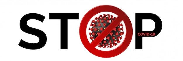 Fique em casa, pare o coronavírus. sinal do conceito para impedir que o covid-19 se espalhe com o texto preto isolado no fundo branco. pandemia de bloqueio para interromper o aviso de quarentena na europa, eua.