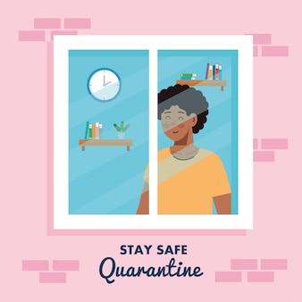 Fique em casa, quarentena ou auto-isolamento, fachada de casa com janela e homem olhando para fora de casa, conceito de quarentena seguro.