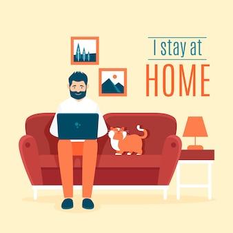 Fique em casa, tema de ilustração