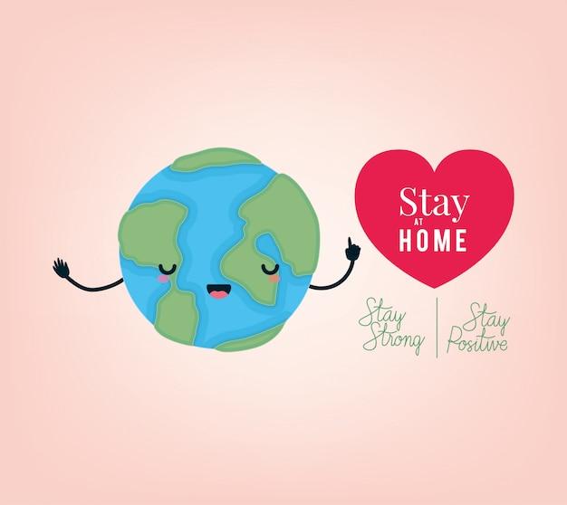Fique em casa texto forte e positivo mundo dos desenhos animados e design de coração
