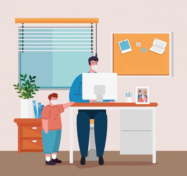 Fique em casa, trabalhe em casa, proteja-se, mantendo distância para evitar infecções, fique em casa em quarentena durante o coronavírus