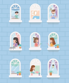 Fique em quarentena em casa, construindo janela, pessoas fazendo atividades diferentes em casa
