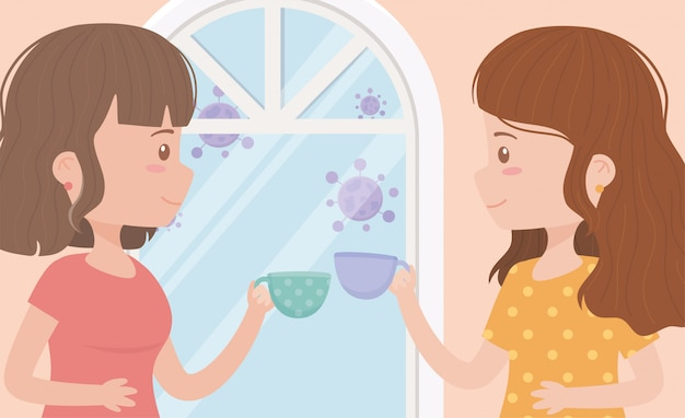 Fique em quarentena em casa, mulheres nas janelas com xícaras de café