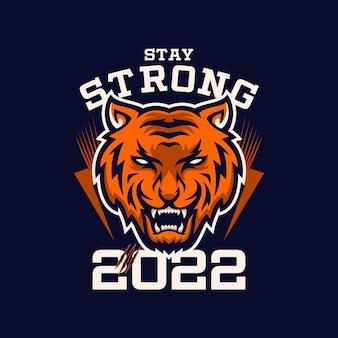 Fique forte em 2022 tipografia camiseta premium vector
