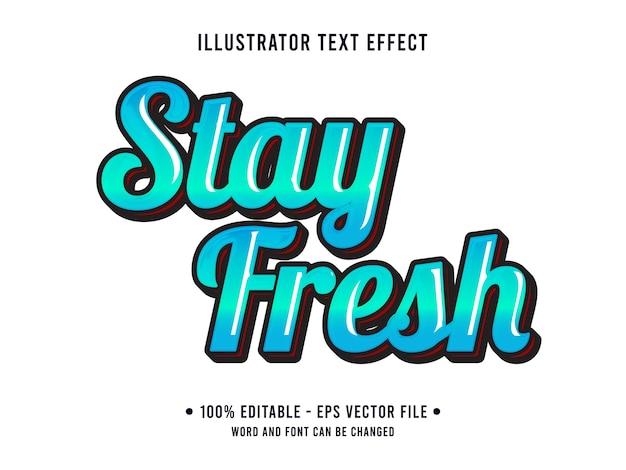 Fique fresco com efeito de texto editável estilo 3d simples com gradiente de cor azul
