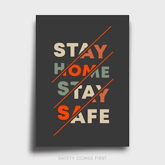 Fique seguro fique em casa design da linha de slogan