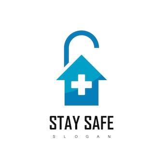 Fique seguro, modelo de design de bloqueio com símbolo de casa e cadeado