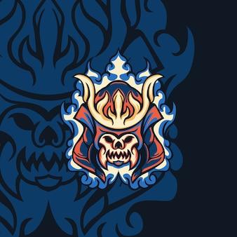 Fire devil samurai para mascote, sinal ou outro jogo de equipe