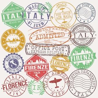 Firenze italy conjunto de desenhos de viagens e negócios carimbo