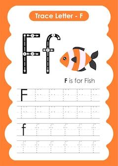 Fish trace linhas escrevendo e desenhando planilha de prática para crianças