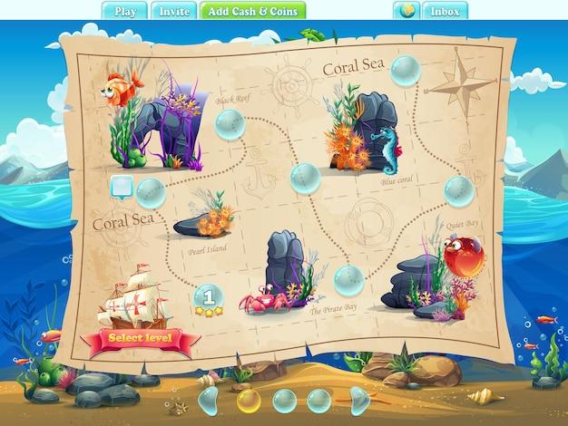 Fish world - exemplos de níveis de tela, interface do jogo com barra de progresso, objetos, botões