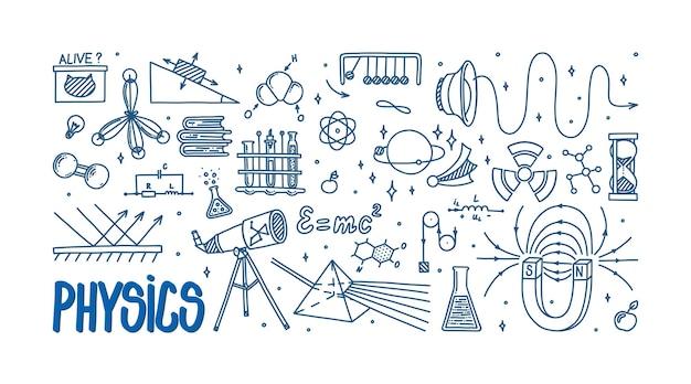 Física doodle com átomo de telescópio prisma magnético e diferentes experimentos ciência desenhada à mão