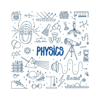 Física doodle com telescópio de prisma magnético e diferentes experimentos itens científicos desenhados à mão