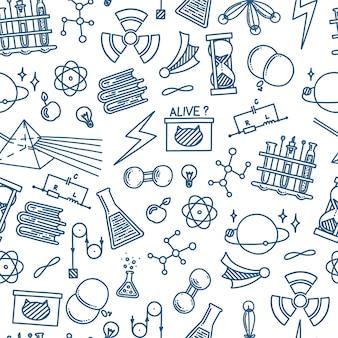 Física doodle em padrão uniforme com átomo de prisma de luz e experimentos mecânicos