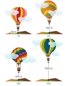 Física - perguntas sobre balão e altura