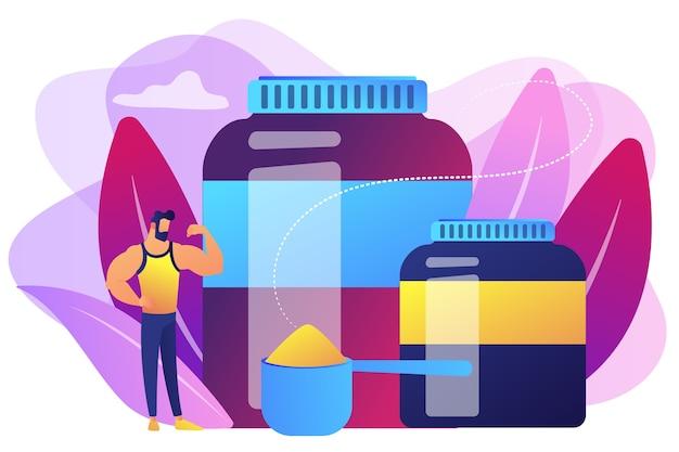 Fisiculturista com recipientes plásticos de nutrição esportiva com proteína em pó. nutrição esportiva, suplementos esportivos, conceito de uso de ajudas ergogênicas.