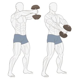 Fisiculturista masculina no ginásio
