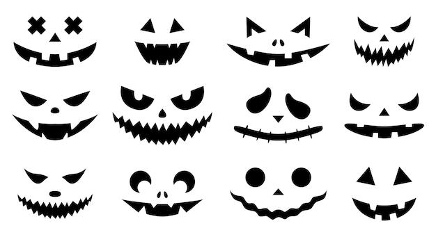 Fisionomias sppoky. um conjunto de abóboras de halloween com silhuetas de rostos isolados no branco.