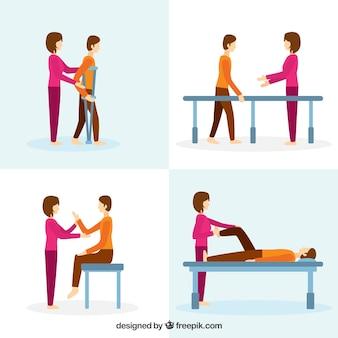 Fisioterapeuta com o paciente