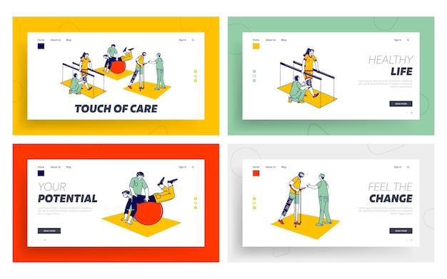 Fisioterapia para deficientes físicos, conjunto de modelos de página de destino de reabilitação