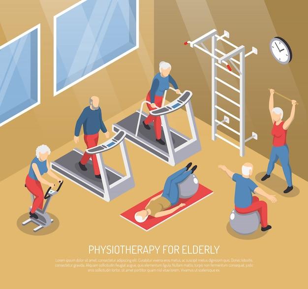 Fisioterapia para ilustração vetorial isométrico de idosos