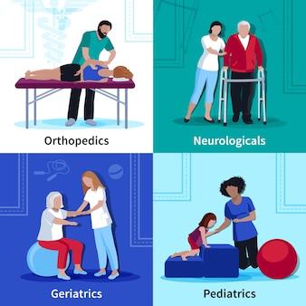 Fisioterapia reabilitação plana ícones quadrados