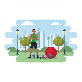 Fit homem fazendo exercício