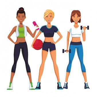 Fit mulheres fazendo exercício