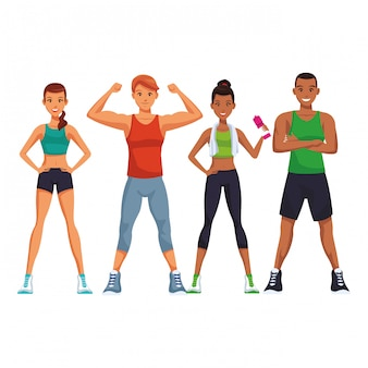 Fit pessoas fazendo exercício