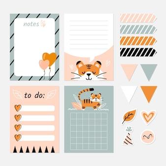 Fita adesiva e blocos de notas para álbum de recortes de animais