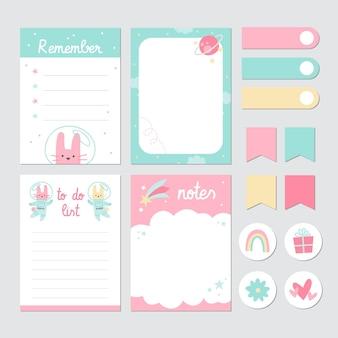 Fita adesiva e blocos de notas para álbum de recortes infantil