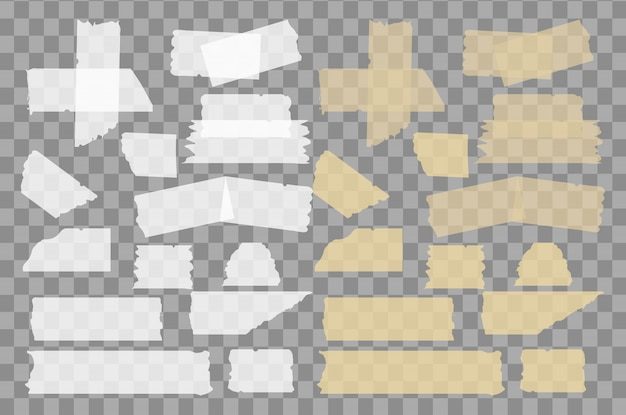 Fita adesiva e mascarada conjunto isolado em fundo transparente.