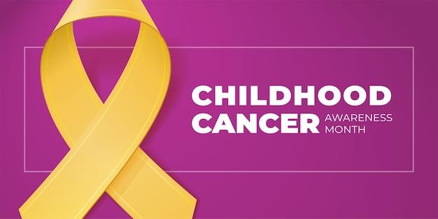 Fita amarela com espaço de cópia para o seu texto. tipografia do mês de conscientização do câncer infantil. símbolo médico em setembro. para banner, cartaz, folheto.