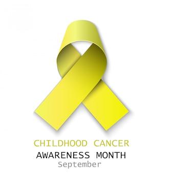 Fita amarela de câncer em branco