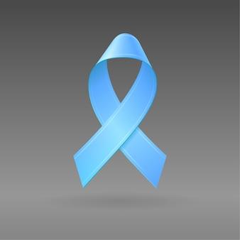 Fita azul de ilustração 3d realista em fundo cinza escuro isolado. símbolo de conscientização do câncer de próstata. modelo editável para design. ícone 3d.