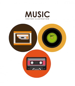 Fita cassete de música e design gráfico de vinil