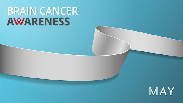 Fita cinza realista. cartaz do mês de câncer de cérebro de conscientização. ilustração vetorial. conceito de solidariedade do dia mundial do câncer cerebral. fundo azul. símbolo da consciência da asma.