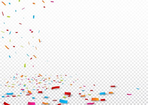 Fita colorida e confetes, isolados em transparente