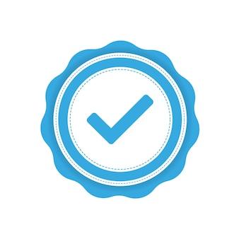 Fita com etiqueta de verificação azul em fundo branco. ilustração vetorial.