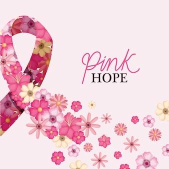 Fita com flores de design rosa esperança, tema de conscientização do câncer de mama