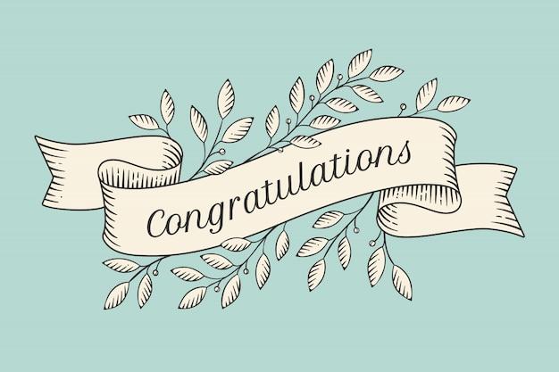 Fita com inscrição parabéns