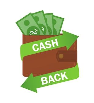 Fita com reembolso. símbolo, ilustração do logotipo. projeto de conceito. ícone do dólar.