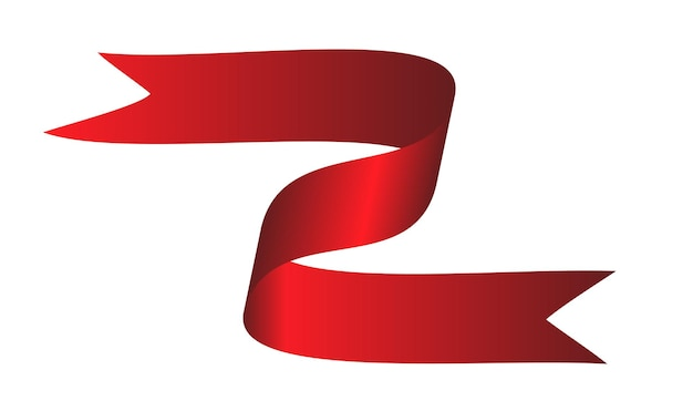 Fita curva colorida vermelha em fundo branco. ilustração vetorial. eps10