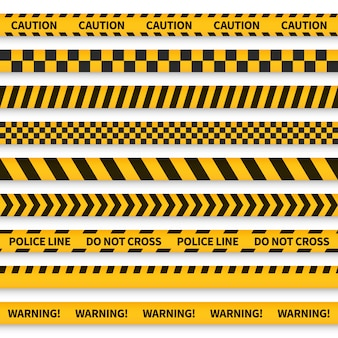 Fita da polícia. barricada gravada amarela aviso perigo polícia listras crime segurança linha atenção fronteira barreira, conjunto plano