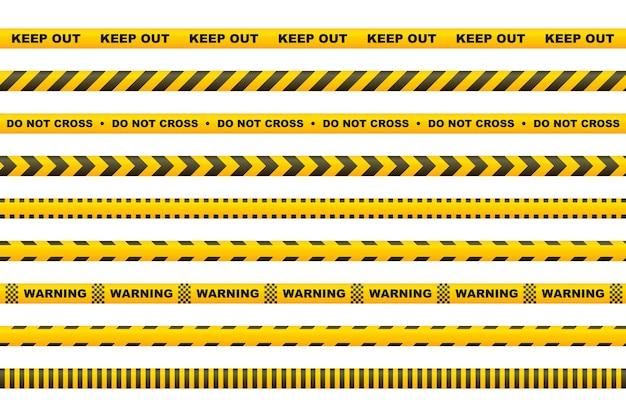 Fita de advertência com listras amarelas e pretas