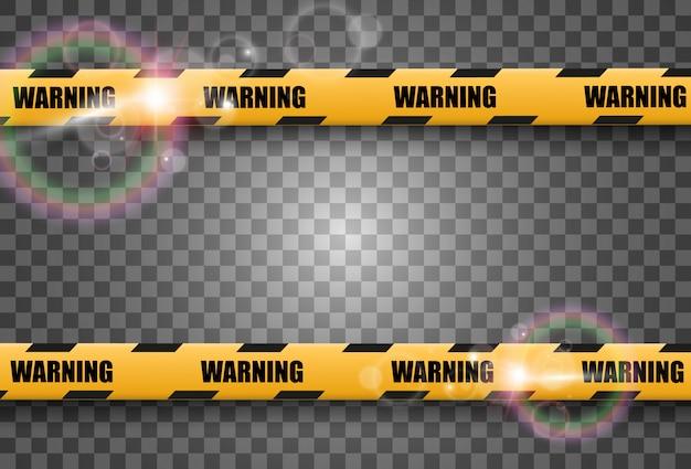 Fita de advertência de barreira em fundo transparente. ilustração.