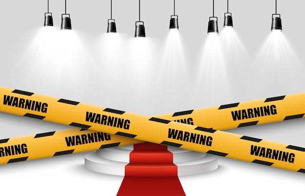Fita de advertência de barreira na ilustração de fundo transparente