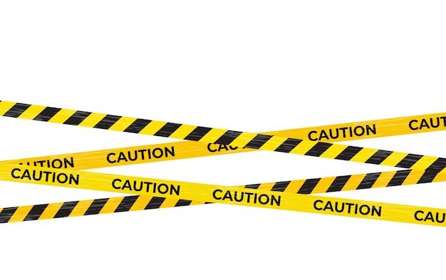 Fita de advertência de cuidado, sinais de perigo isolados.
